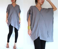 C17 Retro Karen Women Oversized Gray Tunic Loose Summer Bohemian Boho Top
