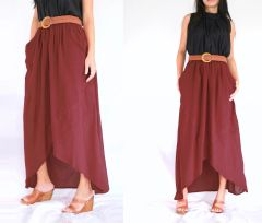 H04 I Say Yes Women High Low Summer Red Cotton Maxi Skirt Pockets