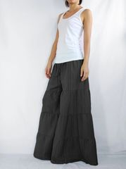 C01 Breezy Mist Women Black Wide Leg Pants Cotton Beach Palazzo Pants Casual Trousers
