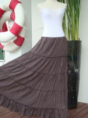 I03 Aerial Bohemian Women Taupe Brown Long Cotton Tiered Maxi Skirt