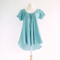 G05 Flow Women Loose A Shape Cotton Peasant Blouse Dolly Top in Light Blue
