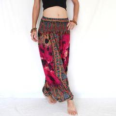 F09 The Gypsy Pink Tie Dye Low Cut Jumpsuit Women Harem Pants