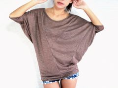 D13 Origami Casual Comfy Oversized Women Brown Dolman Sleeves Tee