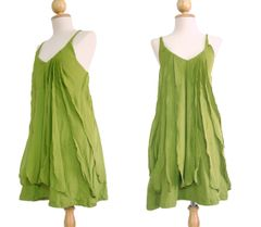 C15 Sea of Love Women Petit Ruffled Green Summer Mini Dress with Spaghetti Strap