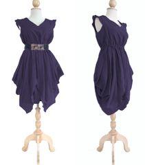 H08 The Fairy Women Purple Plum Layered Cocktail Mini Dress Knee Length