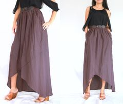 F08 I Say Yes Women High Low Purple Grape Summer Cotton Maxi Skirt Pockets