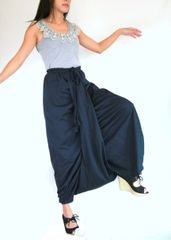 G11 Mulan Women Navy Blue Harem Pants Sarouel Baggy Festival Loose Genie Pants