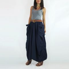 D12 The One and Only II Women Navy Blue Maxi Skirt