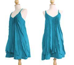 D15 Sea of Love Women Petit Ruffled Summer Turquoise Mini Dress Spaghetti Strap