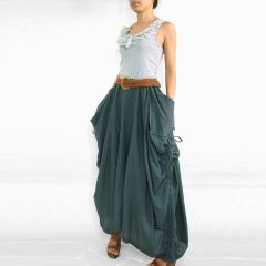 A12 The One and Only Dark Gray Cotton Maxi Skirt