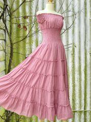 F23 Sweet Summer II Romantic Dress Rustic Pink Cotton Gauze Maxi Dress