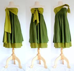 A25 Spring Leaves Convertible Forest Green Summer Women Strapless Bow Mini Dress