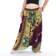 C07 The Gypsy Purple Tie Dye Low Cut Jumpsuit Women Harem Pants