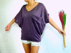 A15 Yes Sizzling Women Alternative Purple Dolman Oversized Top