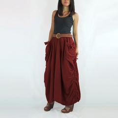A16 The One and Only II Dark Red Cotton Maxi Skirt