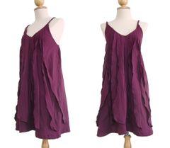 F22 Sea of Love Women Petit Ruffled Summer Burgundy Mini Dress Spaghetti Strap