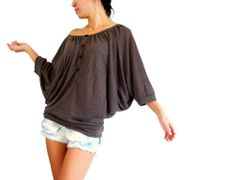 D07 Drapes Women Brown Batwing Top Wide Scoop Neck Oversized Blouse