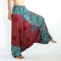 I04 Mandalas Women Low Cut Jumpsuit Harem Pants in Red