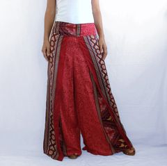 F09 Asana Women Loose Comfy Wide Leg Pants in Red