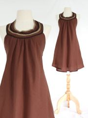 H21 Summer Flirt Women Brown Bib Dress Cotton Mini Dress