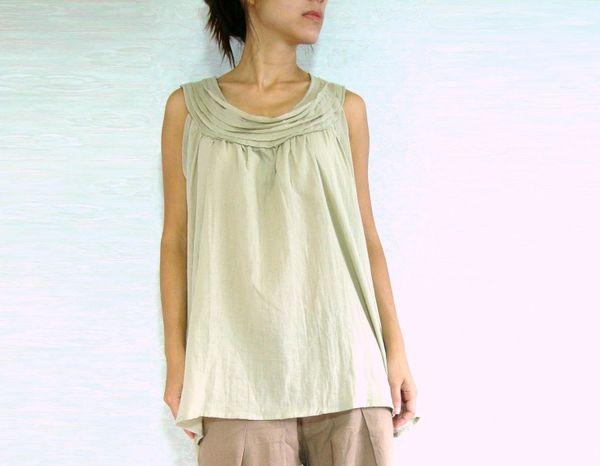9977230cb273 Women Summer Beige Sleeveless Maternity Blouse Cotton Voile Top ...