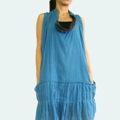 Z12 Sea of Love I Women Bohemian Blue Summer Oversized Mini Dress