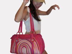 Z02 Hunsa Sisal Colorful Pink Rainbow Women Large Summer Bag