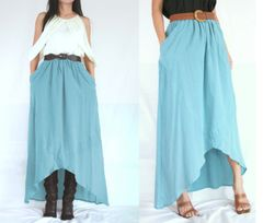 G02 I Say Yes Women High Low Light Blue Summer Cotton Maxi Skirt Pockets