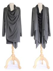 D06 High Street Women Black Charcoal Asymmetrical Layered Tunic Top Long Wrap Cardigan