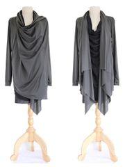D06 High Street Women Black Charcoal Asymmetrical Layered Tunic Top Long Wrap Cardigan