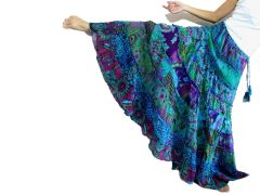 I14 Women Peacock Bohemian Gypsy Maxi Skirt in Teal Blue
