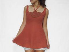 D24 Chakra Sexy Cute Women Burnt Orange Lace Crochet Top Halter Neck