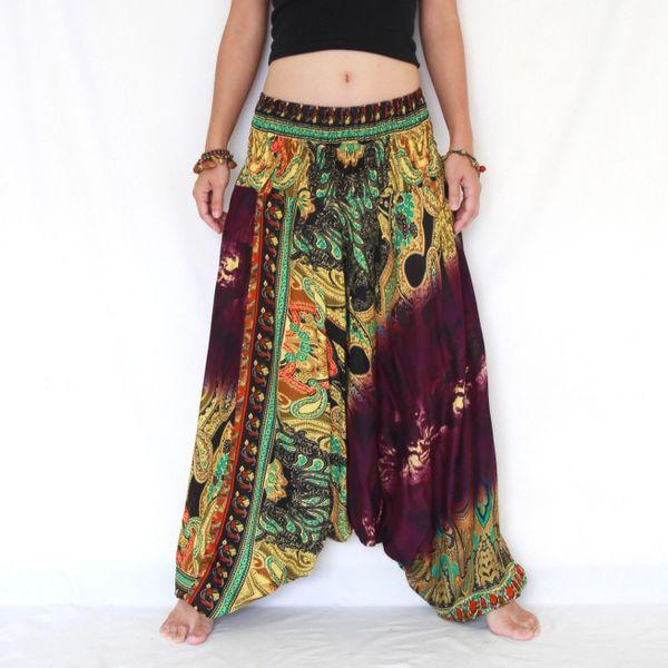 a21fb0ed669 Purple Egg Plant Low Cut Tie Dye Yoga Jumpsuit Women Harem Pants ...