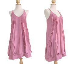 H11 Sea of Love Women Petit Ruffled Summer Pink Spaghetti Strap Mini Dress