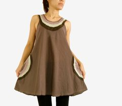H20 Summer Flirt Women Loose A Shape Taupe Brown Tank Top with Pockets