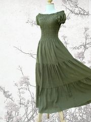 H19 Sweet Summer I Women Olive Army Green Long Cotton Peasant Maxi Dress