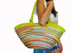 Z04 Hunsa Sisal Colorful Neon Green Rainbow Women Large Summer Tote