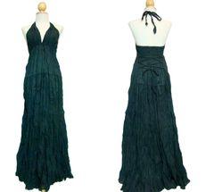 I01 Simply Elegant Black Halter Maxi Dress Summer Long Dress