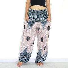 F02 Genie Mandalas Nude Gray Harem Pants w. Pockets