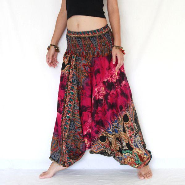 00f6b18ffd9 F09 The Gypsy Pink Tie Dye Low Cut Jumpsuit Women Harem Pants