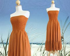 H01 Free Spirit Summer Pumpkin Orange Strapless Beach Tiered Smocked Skirt Dress