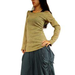 D25 Sukoi Women Off Shoulder Sweater Top in Beige