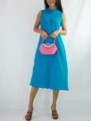 D09 Classy Summer Women Cute Casual Beach Cotton Turquoise Dress
