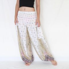 H21 Genie Peacock Feathers White Harem Pants w. Pockets