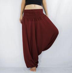 G01 Solid Maroon Red Low Cut Jumpsuit Women Yoga Harem Pants