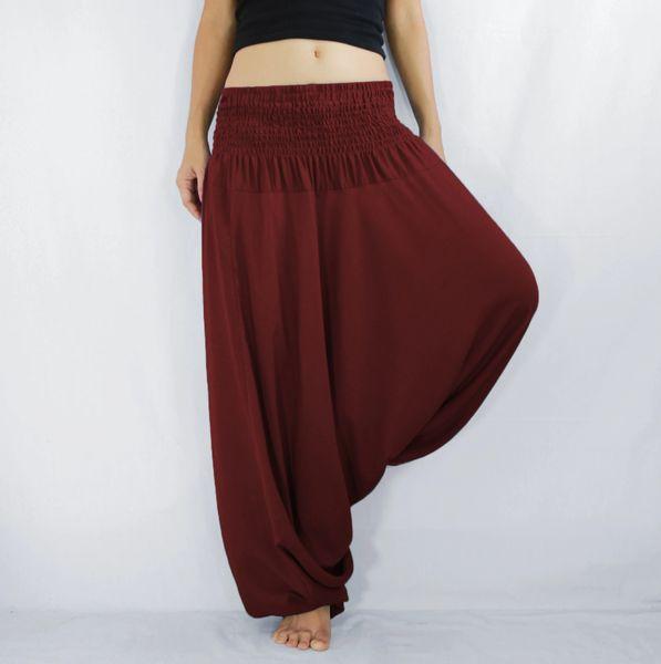 Solid Maroon Red Jumpsuit Dress Low Cut Women Yoga Harem ...
