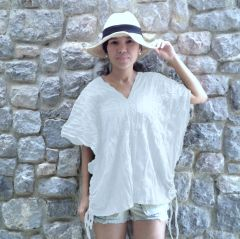 C10 Retro Karen Women White Loose Cotton Blouse Bohemian Boho Top