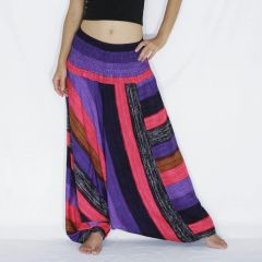 G01 Boho Pink Purple Striped Low Cut Jumpsuit Women Harem Pants