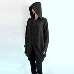 F01 Wanderer Women Black Jacket Long Winter Oversized Hooded Coat Knee Length