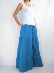 H12 Breezy Mist Women Ocean Blue Wide Leg Pants Cotton Beach Palazzo Pants Casual Trousers